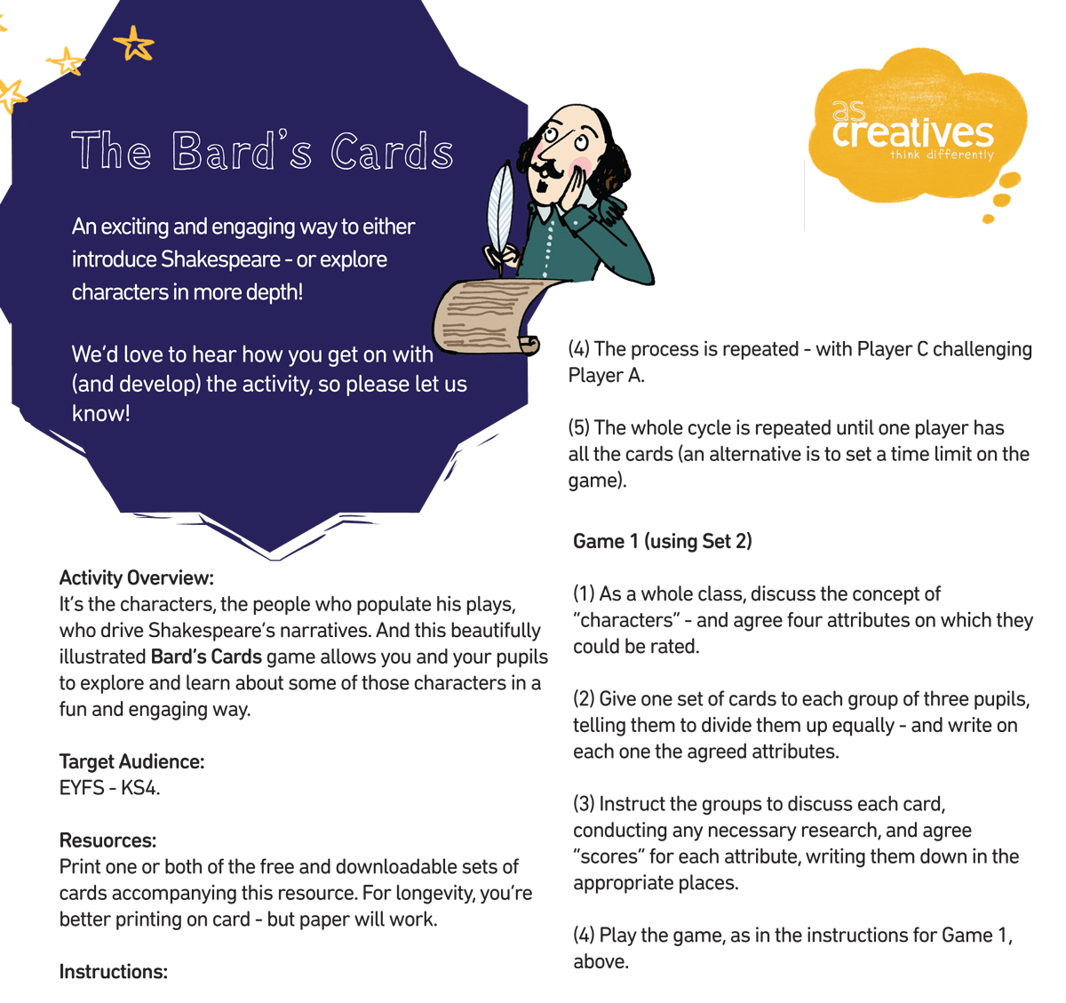 Classroom Resource: Shakespeare – The Bard's Cards